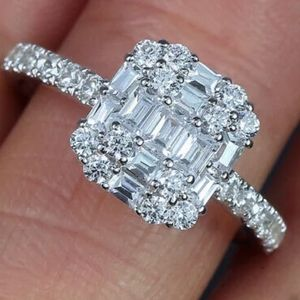 3 CT Square CZ Diamond Silver Engagement Ring